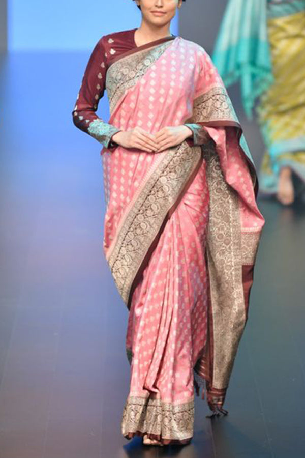 Earthy and Rich Pink colour Soft Silk Saree