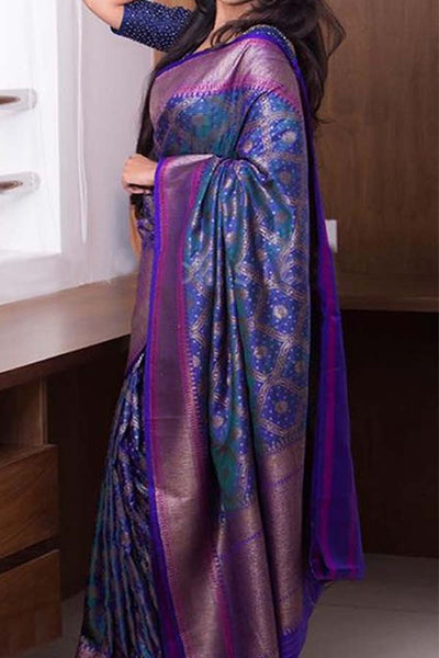 Classic and Truly Traditional Blue Soft Silk Saree