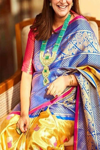 Beautiful Blue and Yellow Understated Soft Silk Saree