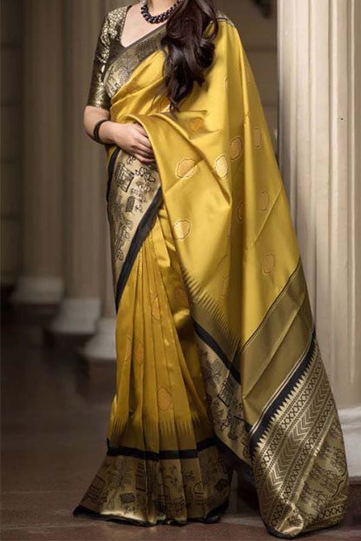 Charismatic Yellow - Black Soft Silk Saree