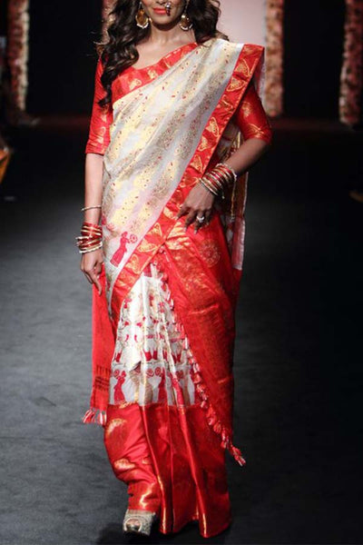 Breathtaking White and Red Soft SIlk Saree