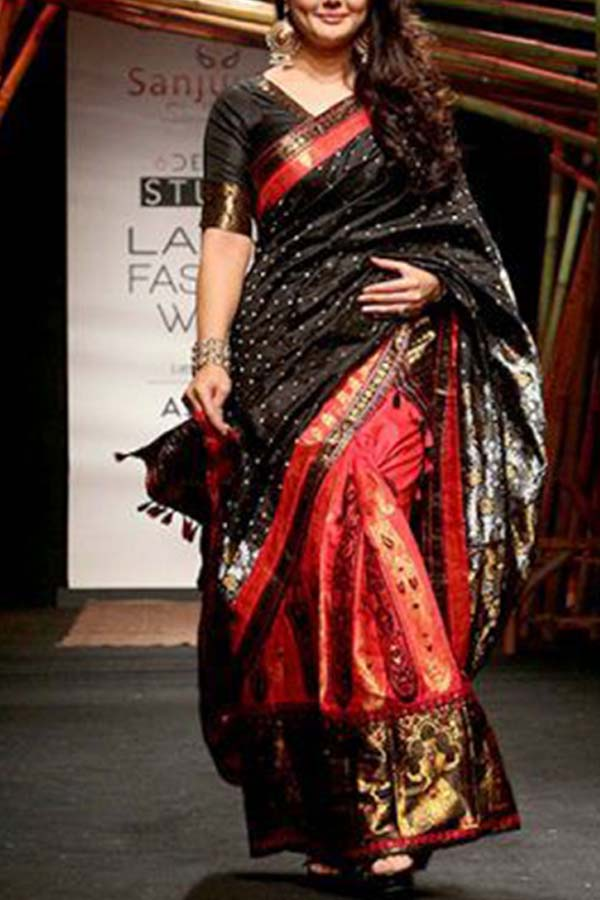 Festivity-Rich Black - Red Soft Silk Saree