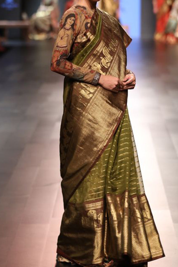 Pretty in Olive Green Soft Silk Saree