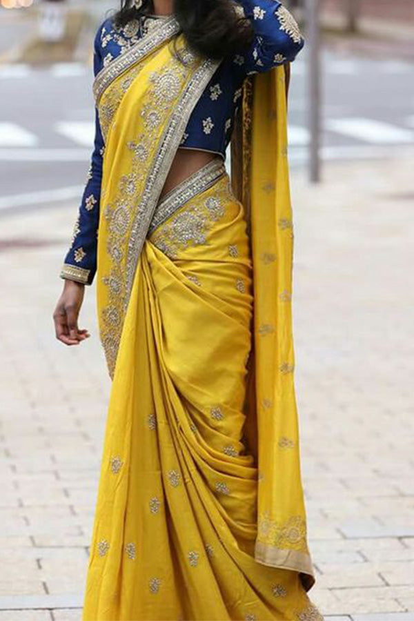 Perfect Yellow Blue Party Wear Soft Silk Saree