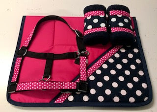 Designer Pink/Navy Polka Dot Set