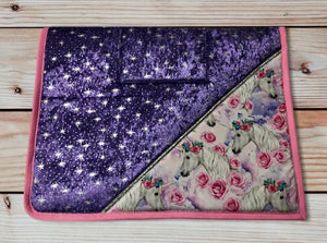 Gorgeous Unicorns & Roses Sparkle saddlecloth