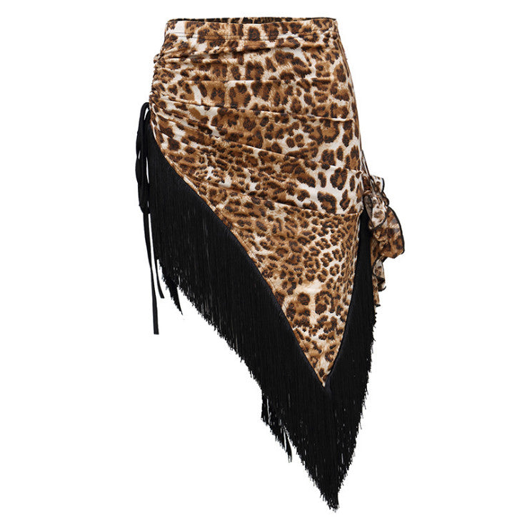 2071L - Ladies Latin dance Skirt in Leopard and Black