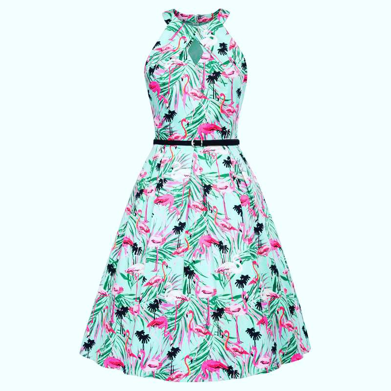 BP4602 - Ladies Retro Dress in Flamingo Print