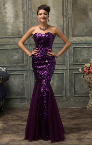 CL007556 - Ladies Long Sequence Formal Wear in Purple