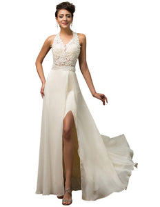CL75831 - Ladies White Lace Long Formal Wear
