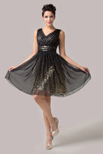 Load image into Gallery viewer, CL6156 - Ladies Short Black and Gold Formal Dress