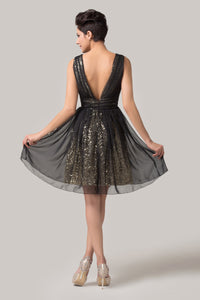 CL6156 - Ladies Short Black and Gold Formal Dress
