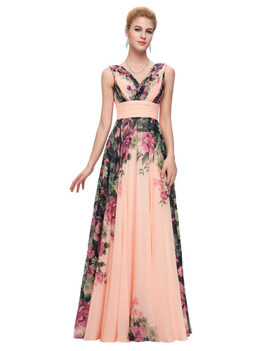 CL7502 - Ladies Long Formal Wear in Floral Peach