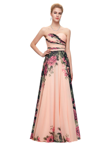 CL7503 - Ladies Long Strapless Formal Wear in Floral Peach