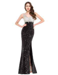 GK000022 - Ladies Black and Silver Sequence Long Formal Wear