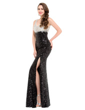 Load image into Gallery viewer, GK000022 - Ladies Black and Silver Sequence Long Formal Wear