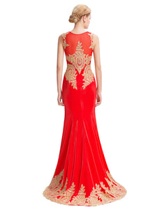 GK000026 - Ladies Red and Gold Long Formal Wear