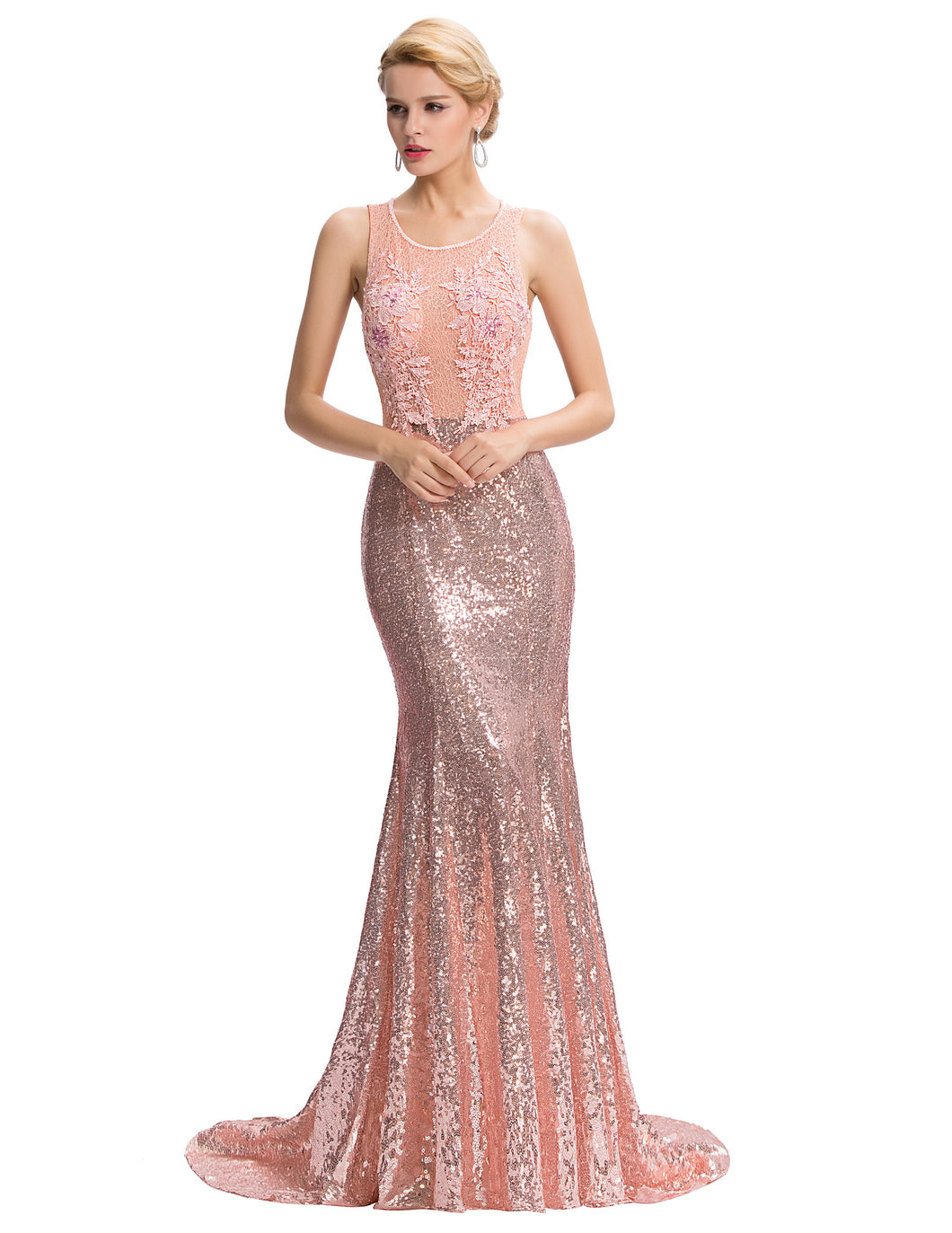 GK411 - Ladies Long Rose Gold Sequence Formal Wear