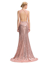Load image into Gallery viewer, GK411 - Ladies Long Rose Gold Sequence Formal Wear