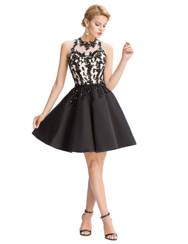 GK541 - Ladies Black Short Cocktail Dress