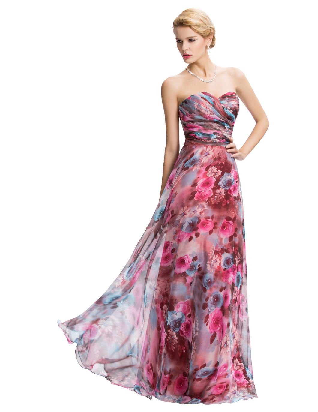 GK571 - Ladies Long Floral Strapless Formal Wear