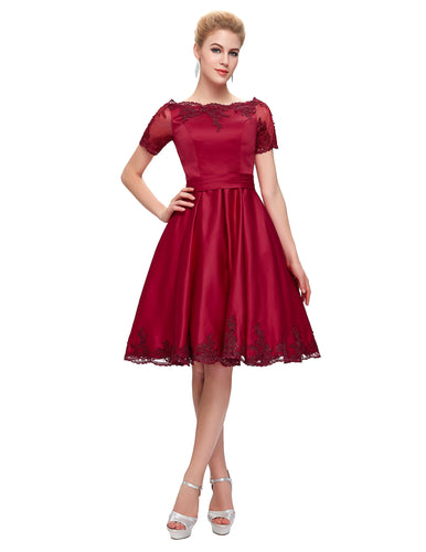 GK621 - Ladies Vintage Red Formal Dress