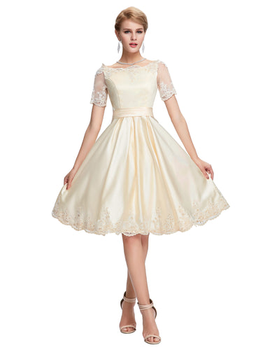 GK621W - Ladies Vintage Short White Formal Dress