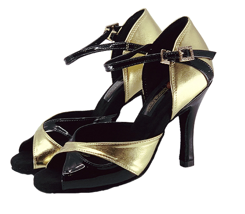 S246 - Ladies High Performance Dance Sandal In Black And Gold