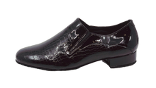 Load image into Gallery viewer, 7813 - Gentlemen's Slip on Croc Skin Black Leather Dance Shoes