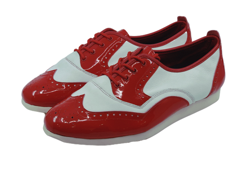 7817RW - Gentlemen's Red and White Leather Flat Smooth Rubber Sole Dance Shoes