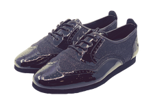 Load image into Gallery viewer, 7817BG - Gentlemen's Black Leather and Black Glitter Flat Dance Shoes