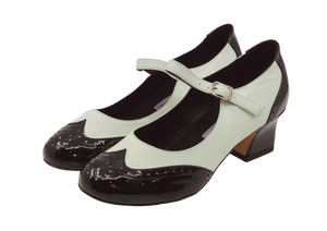 2081BW - Ladies Vintage inspired Leather Dance Shoe in Black and White