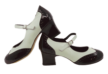 Load image into Gallery viewer, 2081BW - Ladies Vintage inspired Leather Dance Shoe in Black and White