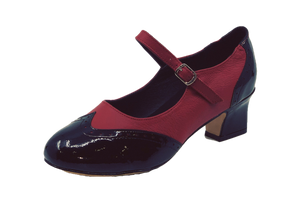 2081BR - Ladies Vintage inspired Leather Dance Shoes in Black and Red