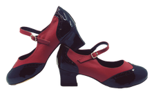 Load image into Gallery viewer, 2081BR - Ladies Vintage inspired Leather Dance Shoes in Black and Red
