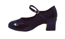 Load image into Gallery viewer, 2081B - Ladies Close Toe Leather Dance Shoes in Black and Black Glitter