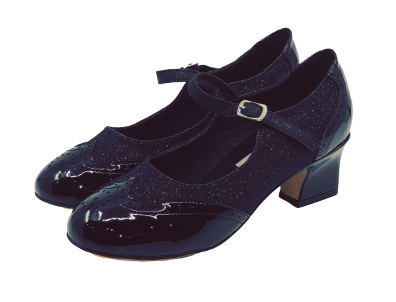 2081B - Ladies Close Toe Leather Dance Shoes in Black and Black Glitter