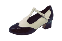 Load image into Gallery viewer, 2082BW - Ladies Close Toe T-Bar Leather Dance Shoes in Black and White