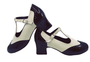 2082BW - Ladies Close Toe T-Bar Leather Dance Shoes in Black and White
