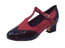 Load image into Gallery viewer, 2082BR - Ladies Vintage Inspired T-Bar Leather Dance Shoes in Black and Red