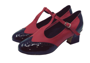 2082BR - Ladies Vintage Inspired T-Bar Leather Dance Shoes in Black and Red