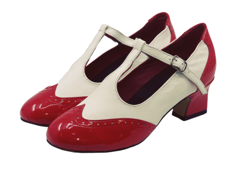 2082RW - Ladies Close Toe T-Bar Leather Dance Shoes in Red and White