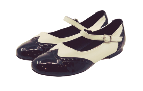 2083BW - Ladies Mary Jane Leather Dance Shoes in Black and White