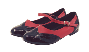 2083BR - Ladies Vintage inspired Leather Dance Shoe in Black and Red