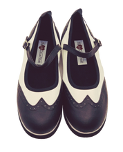 Load image into Gallery viewer, 7820BW - Ladies Mary Jane wingtip Black and White Leather dance shoes