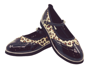 7820L - Ladies Flat Dance Shoes in Leopard and Black with Memory Foam Innersole