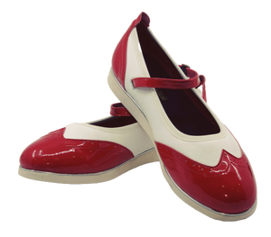 7820RW - Ladies Mary Jane Leather Red and White Dance Shoe