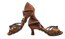 Load image into Gallery viewer, S27BT - Ladies Tan High Performance Dance Sandal in Tan Satin with Diamante Buckle Finish