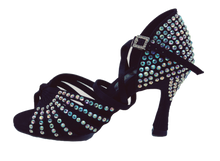 Load image into Gallery viewer, S125BC - Ladies High Performance Dance Sandal in Black Satin with Rhinestones