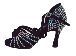 S125BC - Ladies High Performance Dance Sandal in Black Satin with Rhinestones